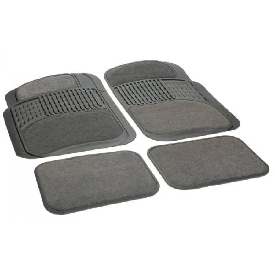 Rubber queen floor mats - Rubber Queen Rubber Bordered Carpeted Floor Mats Gray